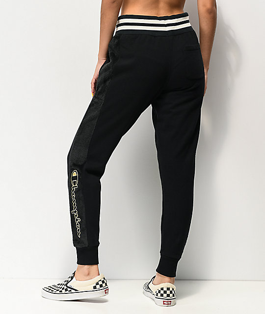Champion Super Fleece Black Jogger Sweatpants