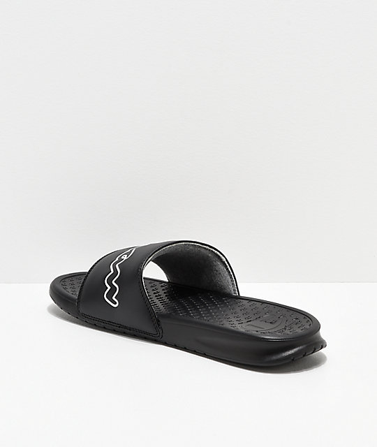 2645130f4 ... Champion Super Split Script Black Slide Sandals ...