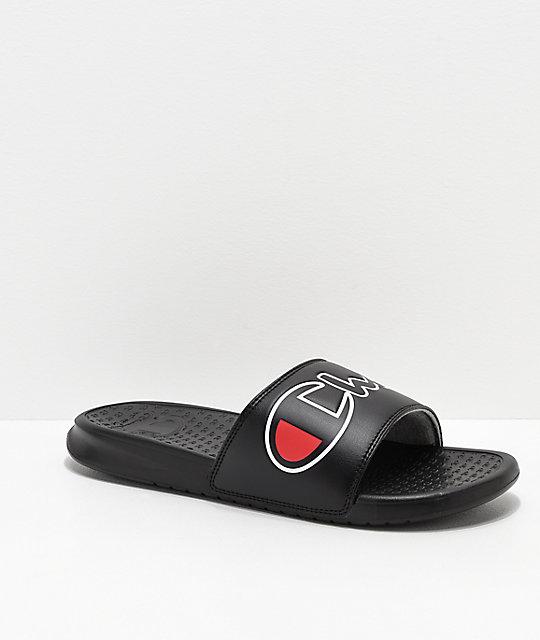 185906387 Champion Super Split Script Black Slide Sandals