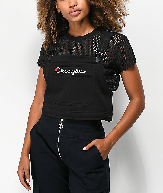 4ada10cc5980 Champion Superfleece Black Crop Overall Bib Top | Zumiez
