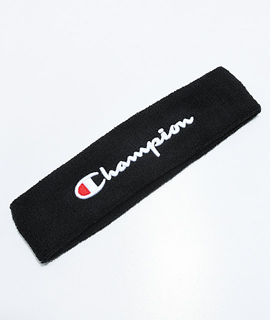 Champion Terry Logo Black Headband