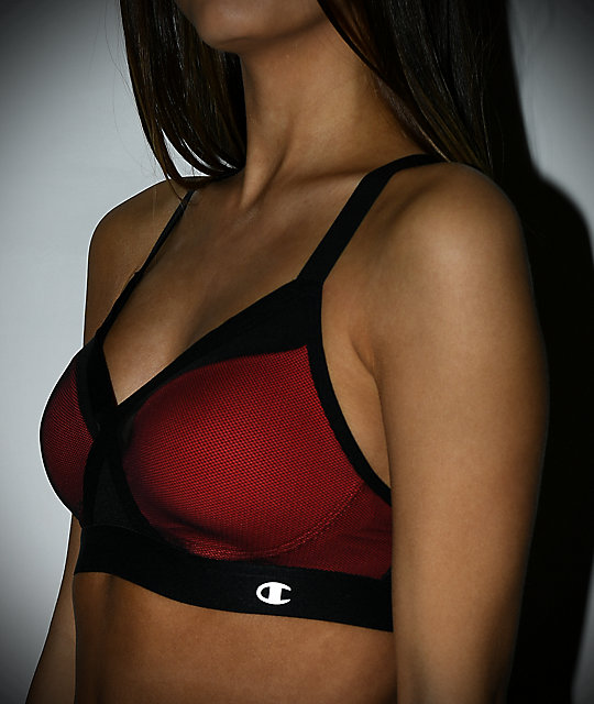 Champion The Curvy X-Back Red & Black Sports Bra