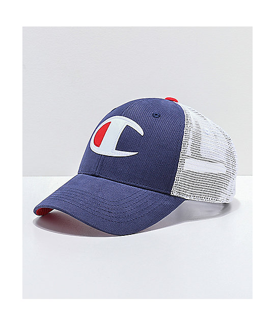 9ceefa53fefa5 Champion Twill   Mesh Indigo Snapback Hat