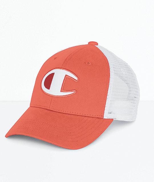 62eee25dbf184 Champion Twill   Mesh Papaya Snapback Hat
