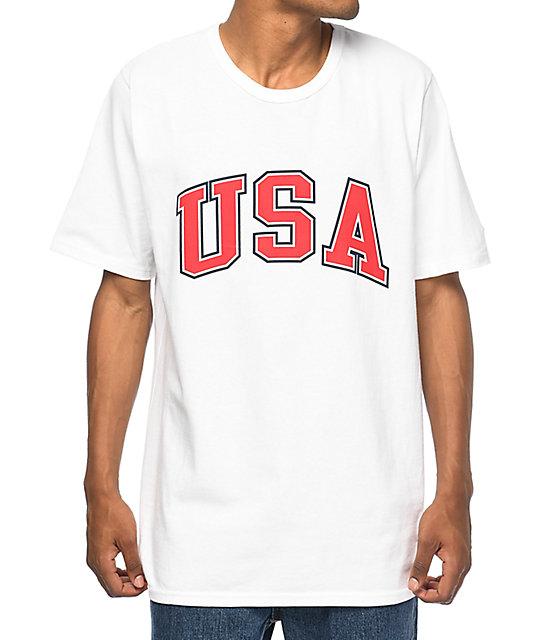 e46b35a4a Shoptagr | Champion Usa Arch White T Shirt by Champion