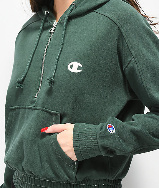 791eedef Champion Vintage Dyed Fleece Half-Zip Green Hoodie | Zumiez