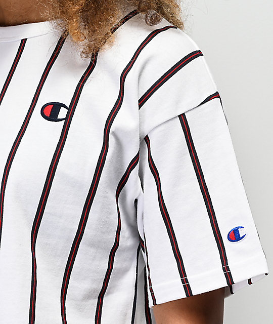 Champion White, Blue & Red Striped Crop T-Shirt