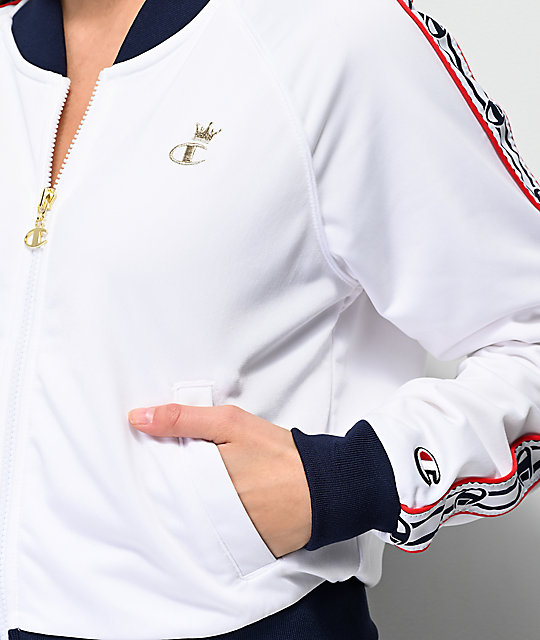 Champion White & Blue Taping Track Jacket