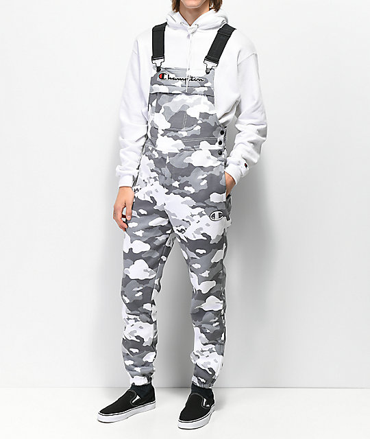 Champion White Camo Fleece Overalls