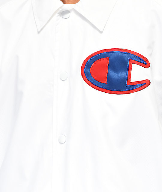 Champion White Coaches Jacket