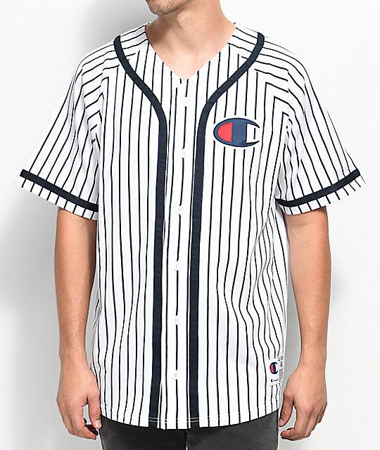 c906ac16 Champion White Striped Baseball Jersey | Zumiez