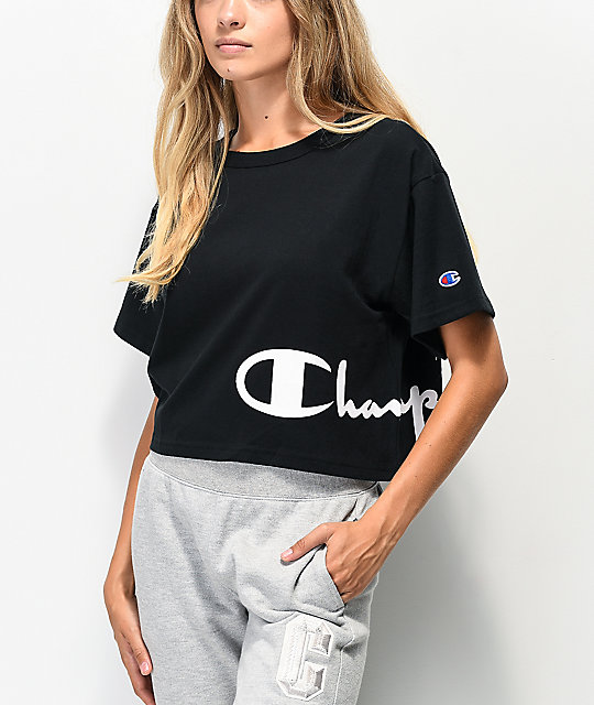 Champion Wrap Script Black Crop T-Shirt