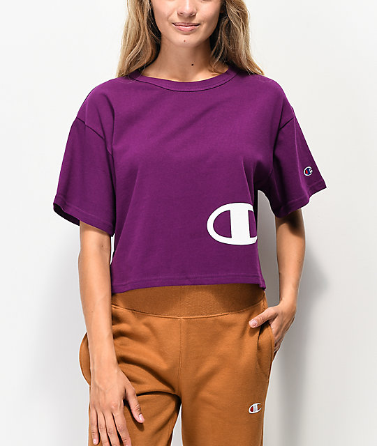 Champion Wrap Script Purple Crop T-Shirt