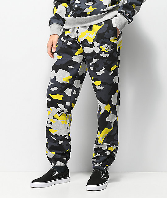 Champion Yellow, Grey & Black Camo Super Fleece Sweatpants
