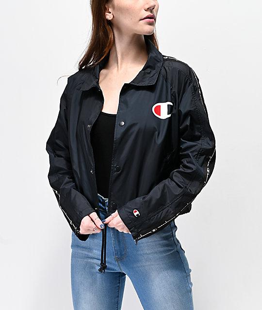77e7568c9 Champion Zip Tape Black Crop Coaches Jacket
