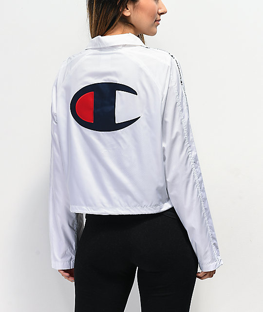 Champion Zipper Tape White Crop Coaches Jacket