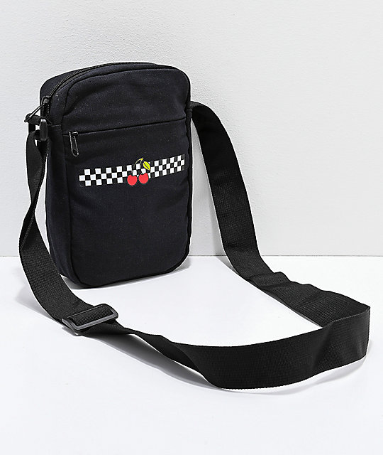 Cherry Checker Black Shoulder Bag