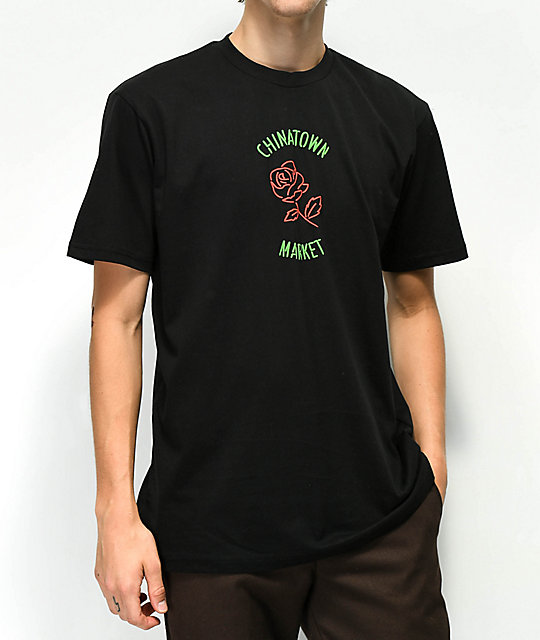 Chinatown Market Neon Rose Black T-Shirt