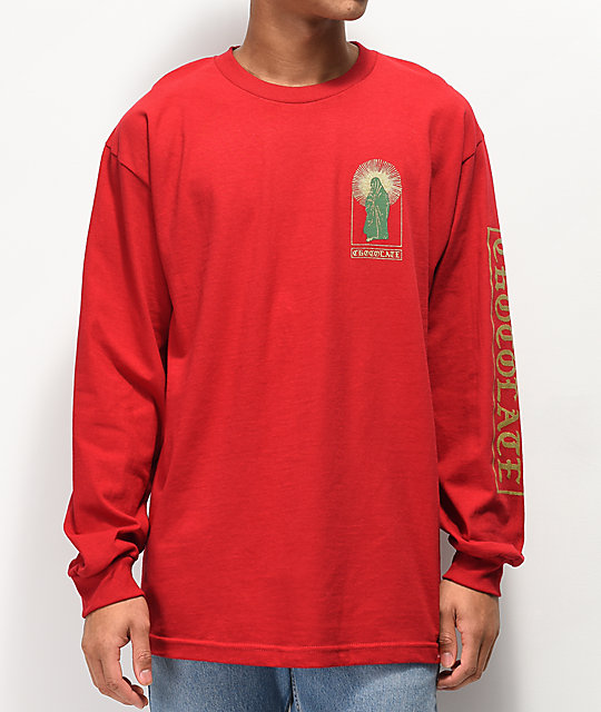 Chocolate Guadalupe Burgundy Long Sleeve T-Shirt