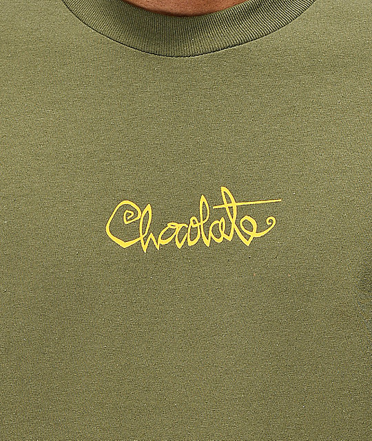 Chocolate Script Army Green T-Shirt