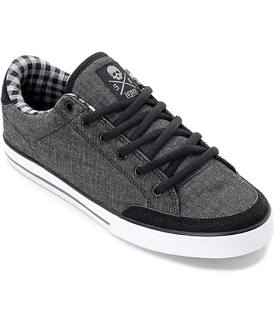Circa Lopez 50 Black Denim & White Skate Shoes