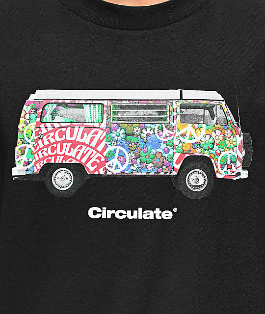 Circulate Hippie Bus camiseta negra