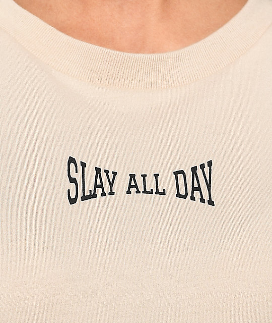 Civil Slay All Day camiseta de manga larga en color caqui