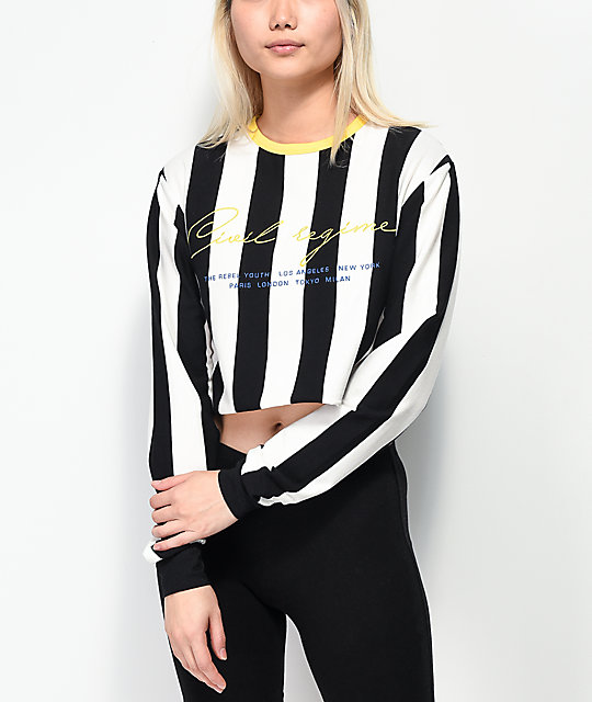 Civil Striped Black, White and Yellow Long Sleeve Crop T-Shirt