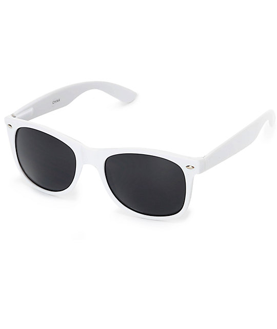 Classic White & Smoke Lens Sunglasses