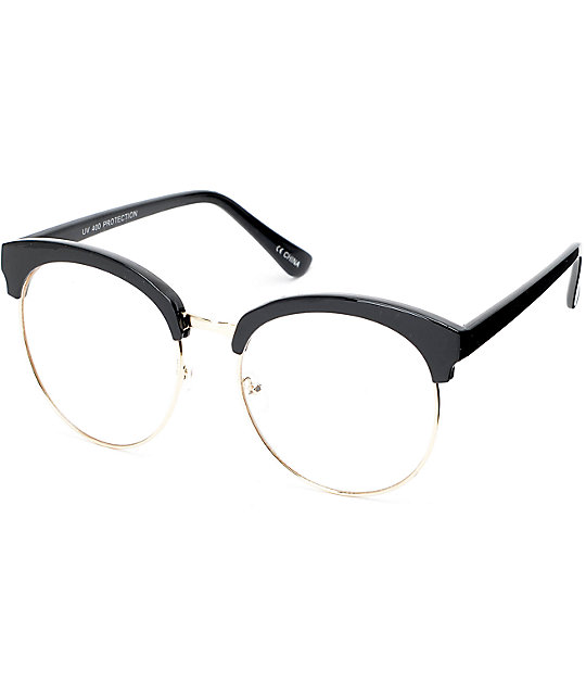 51f29c80f7b Clear Lens Black Clubmaster Glasses