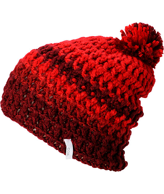 Coal Lewis Red Pom Beanie