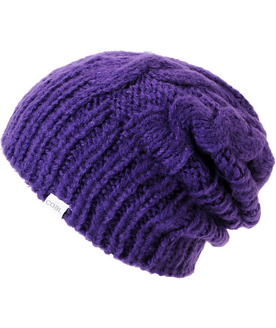 Coal Parks Purple Cable Knit Beanie