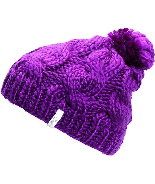 Coal Rosa Purple Pom Beanie  aa5f0be75e8