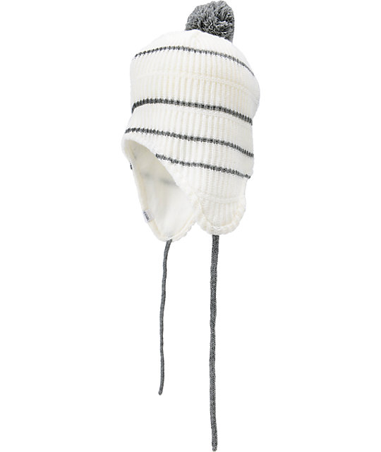 Coal The Clayton White Earflap Beanie