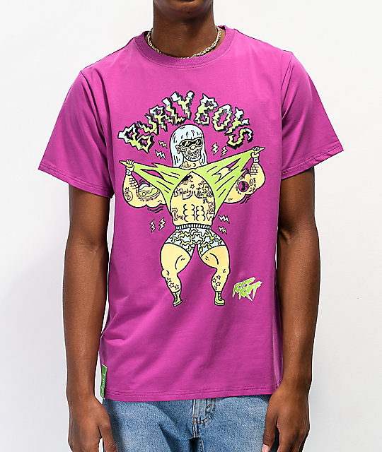 Colours Collectiv x Riff Raff Burly Boys Purple T-Shirt