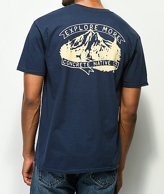 Concrete Native Explore Mountains camiseta azul marino