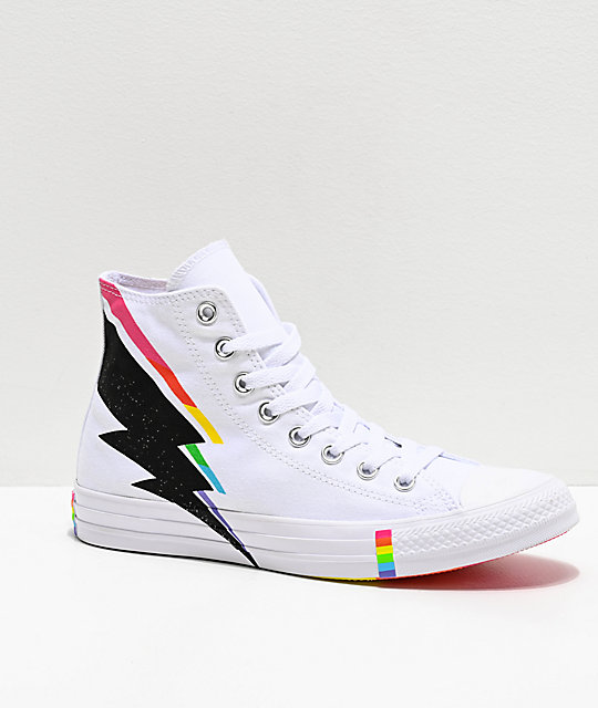 Converse CTAS Hi Pride Ox White, Black & Rainbow Shoes
