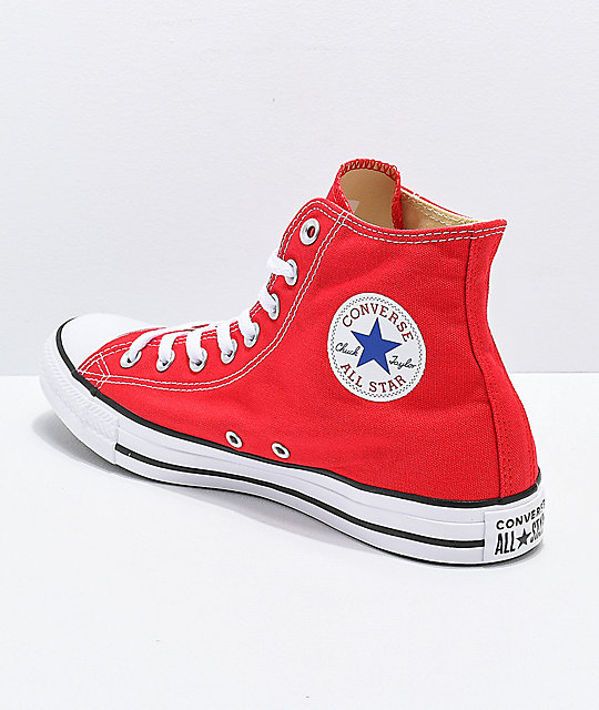 Converse CTAS Hi Red & White Shoes