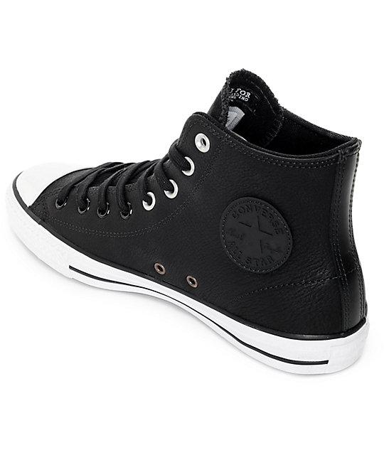 217f469f009373 ... Converse CTAS Pro Hi Black Leather Shoes ...