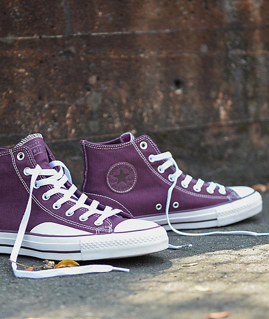 64e9ab05092 ... Converse CTAS Pro Hi Purple   White Canvas Skate Shoes