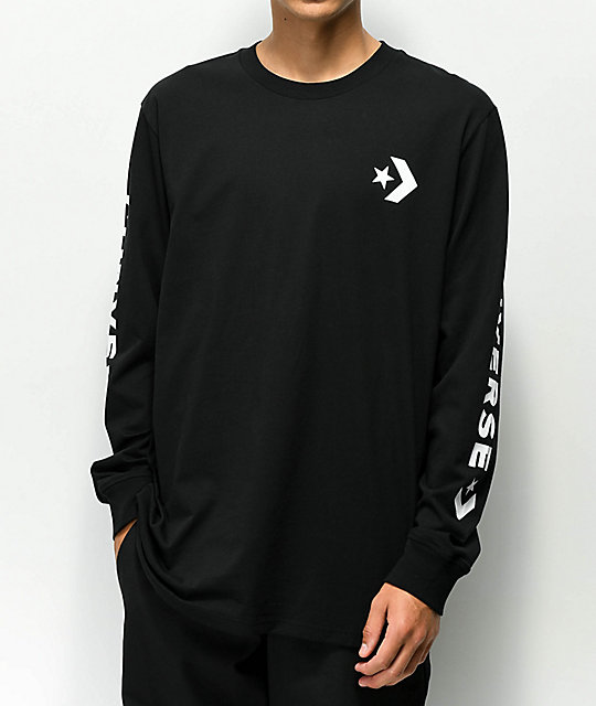 Converse Chevron Star Black Long Sleeve T-Shirt