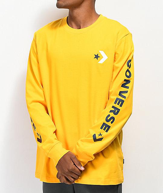 ba99a6c0680d Converse Chevron Star Gold Long Sleeve T-Shirt