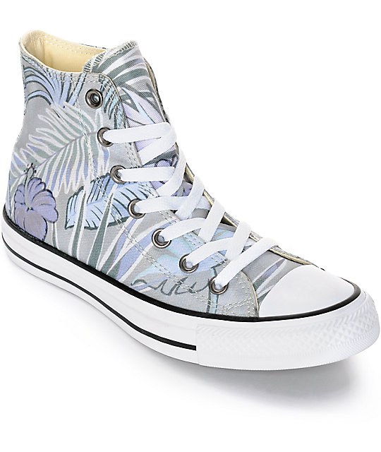 89a3423eaf7 Converse Chuck Taylor All Star Grey Floral High Top Shoes
