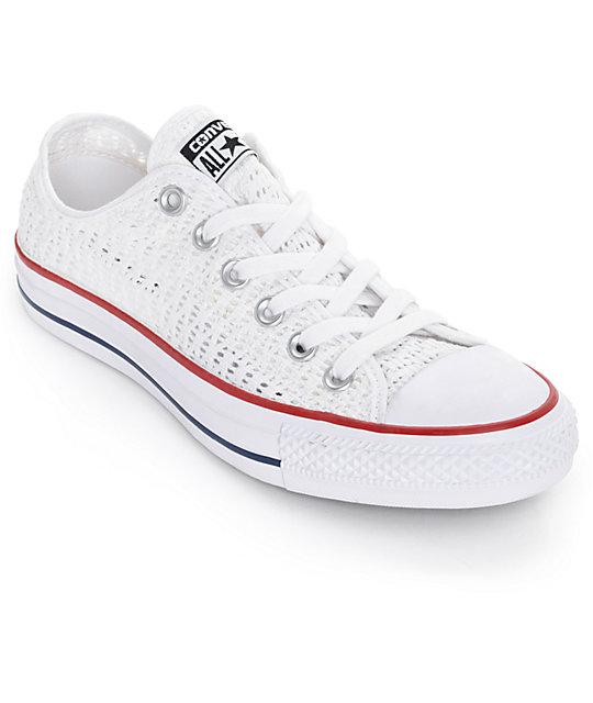 Converse Chuck Taylor All Star Low White Crochet Shoes Zumiez