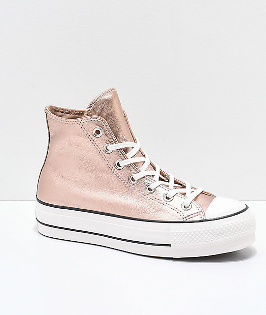 Converse Chuck Taylor All Star Metallic Beige Platform Shoes
