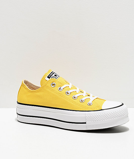 Converse Chuck Taylor All Star Ox Butter Yellow & White Platform Shoes