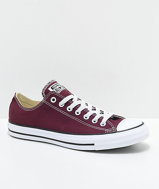 buy popular 4c333 6e85c Converse Chuck Taylor All Star Ox Maroon & White Shoes