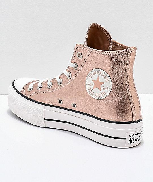 9c93b175003 ... Converse Chuck Taylor All Star zapatos en beige metálico de plataforma  ...