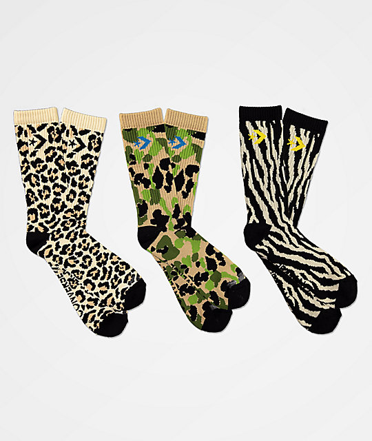 Converse Classic Star Chevron Animal Print 3 Pack Crew Socks