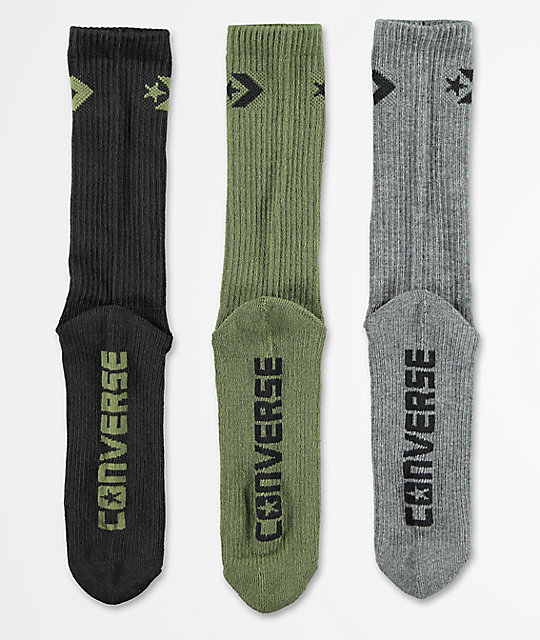 Converse Classic Star Chevron Olive, Dark Grey & Black 3 Pack Crew Socks